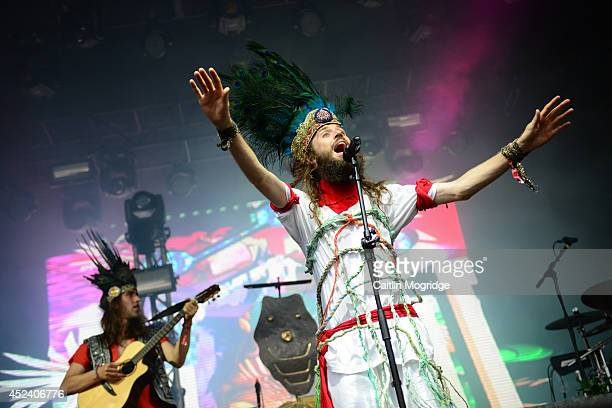 Sebastian Pringle of Crystal Fighters performs on stage at Lovebox 2014 at Victoria Park on July 19 2014 in London United Kingdom
