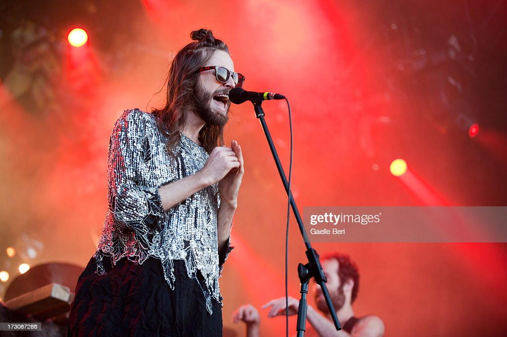 Sebastian Pringle of Crystal Fighters performs on stage on Day 4 of Open'er Festival 2013 on July 6, 2013 in Gdynia, Poland.