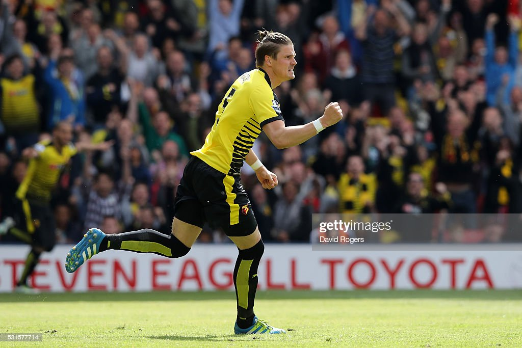Sebastian Prodl of Watford celebrates scoring his team's first goal during the Barclays Premier League match between Watford and Sunderland at Vicarage Road on May 15, 2016 in Watford, England.
