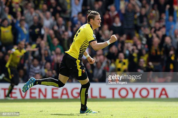 Sebastian Prodl of Watford celebrates scoring his team's first goal during the Barclays Premier League match between Watford and Sunderland at...