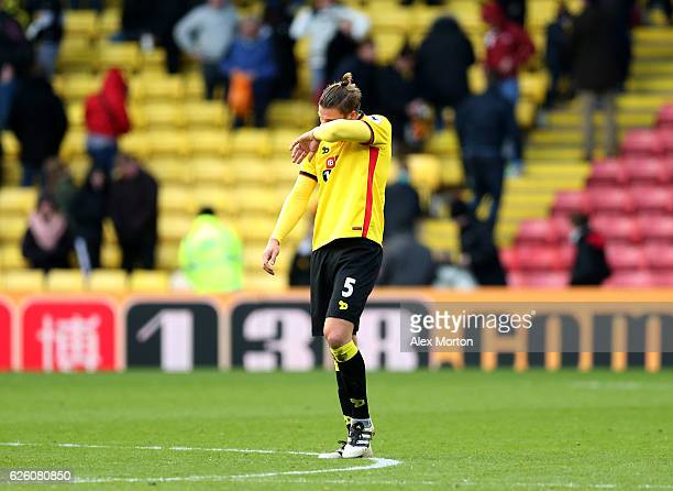 Sebastian Prodl of Watford is dejected after the final whistle during the Premier League match between Watford and Stoke City at Vicarage Road on...