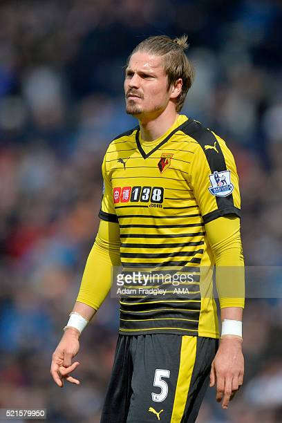 Sebastian Prodl of Watford looks on during the Barclays Premier League match between West Bromwich Albion and Watford at The Hawthorns on April 16...
