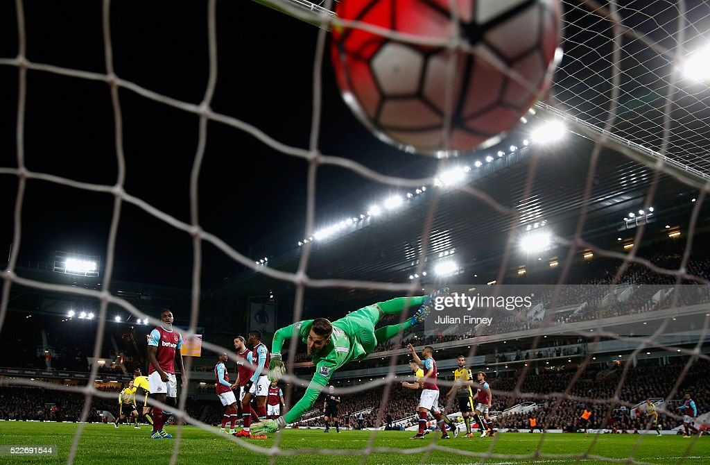 Sebastian Prodl of Watford scores his sides only goal during the Barclays Premier League match between West Ham United and Watford at the Boleyn Ground, April 20, 2016, London, England