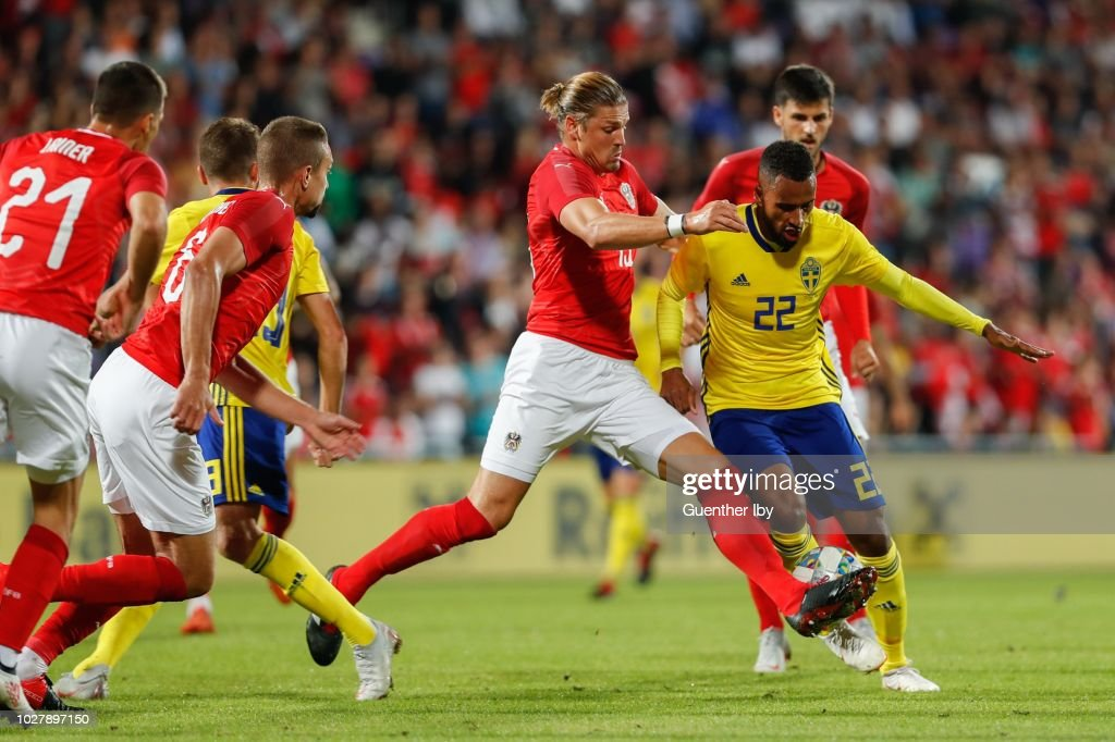 Sebastian Proedl of Austria and Isaac Kiese Thelin of Sweden during the International Friendship game between Austria and Sweden at the Generali Arena on September 06, 2018 in Vienna, Austria.