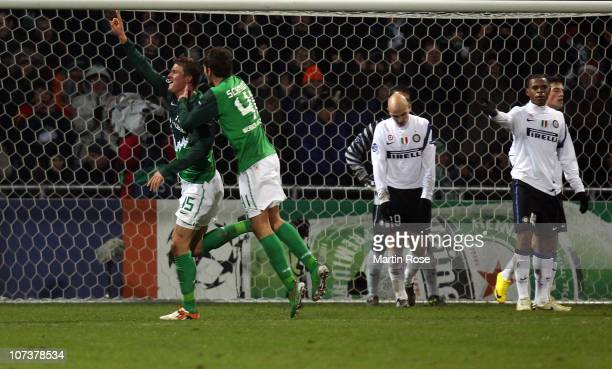 Sebastian Proedl of Bremen celebrates after he scores his team's opening goal during the UEFA Champions League group A match between SV Werder Bremen...