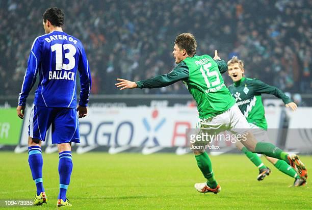 Sebastian Proedl of Bremen celebrates after scoring his team's second goal during the Bundesliga match between Werder Bremen and Bayer Leverkusen at...