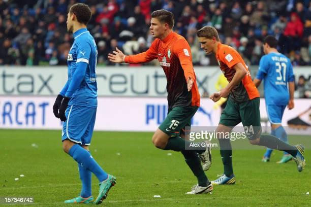 Sebastian Proedl of Bremen celebrates his team's first goal during the Bundesliga match between TSG 1899 Hoffenheim and SV Werder Bremen at...