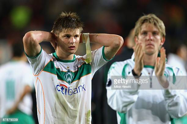 Sebastian Proedl of Werder Bremen looks on dejectedly following his team's defeat after extra time at the end of the UEFA Cup Final between Shakhtar...