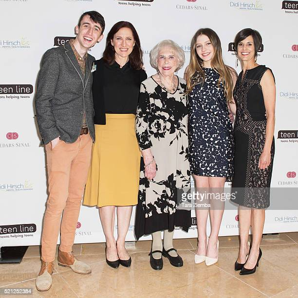 Julian Otis CEO of The Jim Henson Company Lisa Henson Teen Line Founder Dr Elaine Leader Ginger Otis and Executive Director Michelle Carlson attend...