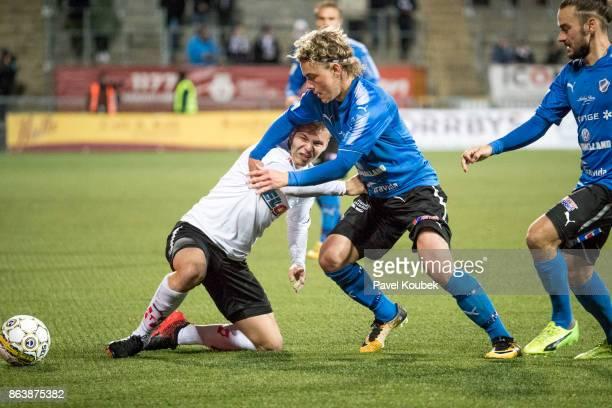 Sebastian Ring of Orebro SK & Höskuldur Gunnlaugsson of Halmstad BK during the Allsvenskan match between Orebro SK and Halmstad BK at Behrn Arena on...