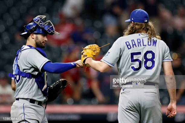 Sebastian Rivero and Scott Barlow of the Kansas City Royals celebrate a 4-2 victory over the Cleveland Indians in game two of a doubleheader at...