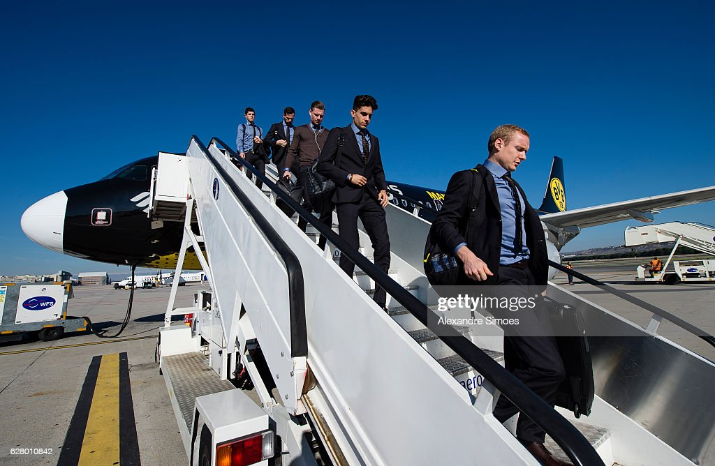 Sebastian Rode and Marc Bartra of Borussia Dortmund arrival in Madrid Airport prior to the UEFA Champions League match between Real Madrid and Borussia Dortmund at Estadio Santiago Bernabeu on December 6, 2016 in Madrid, Spain.