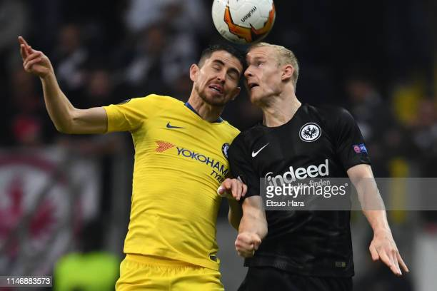 Sebastian Rode of Eintracht Frankfurt and Jorginho of Chelsea compete for the ball during the UEFA Europa League Semi Final First Leg match between...