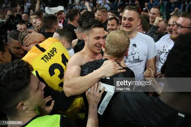 Sebastian Rode of Eintracht Frankfurt celebrates with fans during the UEFA Europa League Quarter Final Second Leg match between Eintracht Frankfurt...