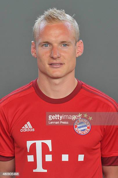 Sebastian Rode poses during the team presentation of FC Bayern Muenchen at Bayern's training ground Saebener Strasse on July 16 2015 in Munich Germany