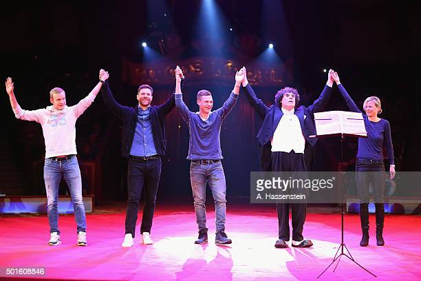 Sebastian Rode Xabi Alonso and Joshua Kimmich of FC Bayern Muenchen performe during the FC Bayern Muenchen Circus Gala Weihnachten 2015 at Circus...