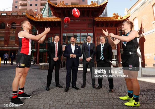 Sebastian Ross of the Saints Saints CEO Matt Finnis Victorian Minister for Trade and Investment Innovation and the Digital Economy Small Business...