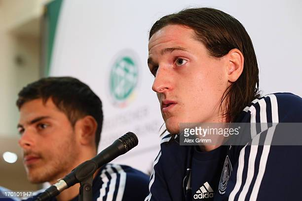 Sebastian Rudy and Kevin Volland attend a Germany U21 press conference at Marina Hotel on June 7 2013 in Tel Aviv Israel