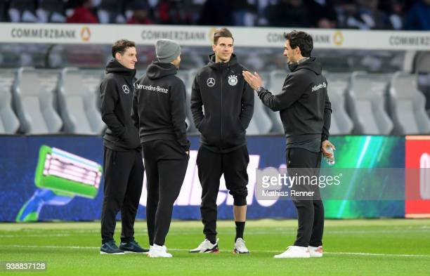 Sebastian Rudy Leon Goretzka and Mats Hummels of Team Germany before the international friendly match between Germany and Brazil at Olympiastadion on...