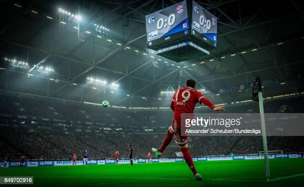 Sebastian Rudy of Bayern hits a corner during the Bundesliga match between FC Schalke 04 and FC Bayern Muenchen at VeltinsArena on September 19 2017...