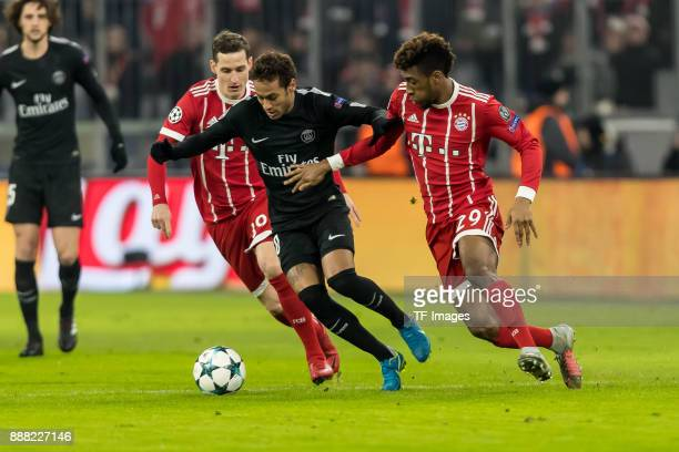 Sebastian Rudy of Bayern Muenchen Kingsley Coman of Bayern Muenchen and Neymar of Paris SaintGermain battle for the ball during the UEFA Champions...