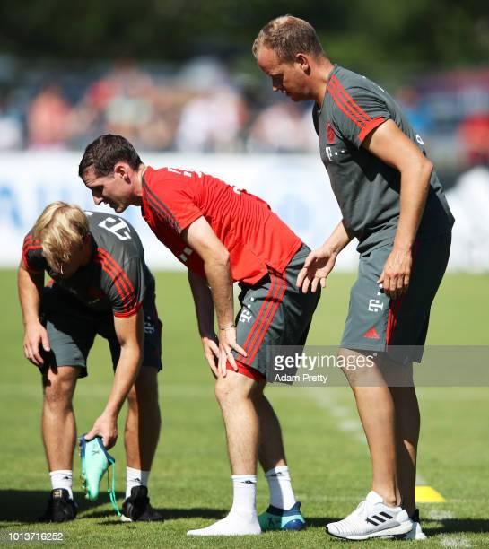 Sebastian Rudy of Bayern Munich is hurt during FC Bayern Muenchen pre season training on August 9, 2018 in Rottach-Egern, Germany.