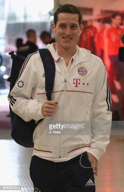 Sebastian Rudy of FC Bayern Muenchen arrives at the players' tunnel for the Bundesliga match between FC Bayern Muenchen and Werder Bremen at Allianz...
