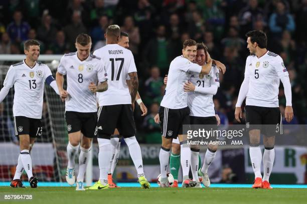 Sebastian Rudy of Germany celebrates scoring a goal to make the score 10 during the FIFA 2018 World Cup Qualifier between Northern Ireland and...