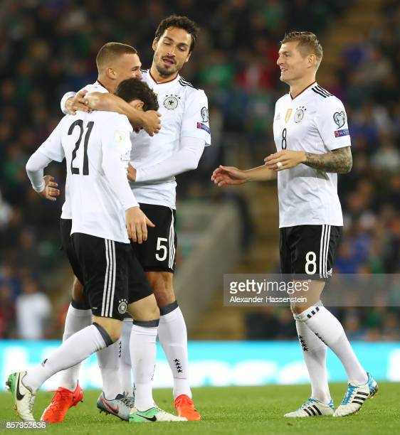 Sebastian Rudy of Germany celebrates scoring his goal with Joshua Kimmich Mats Hummels and Toni Kroos of Germany during the FIFA 2018 World Cup...