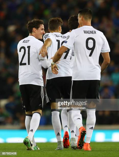 Sebastian Rudy of Germany celebrates scoring his goal with Leon Goretzka and Sandro Wagner of Germany during the FIFA 2018 World Cup Qualifier...