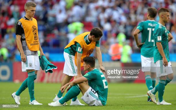Sebastian Rudy of Germany consoles Mario Gomez of Germany who looks dejected following their sides defeat in the 2018 FIFA World Cup Russia group F...