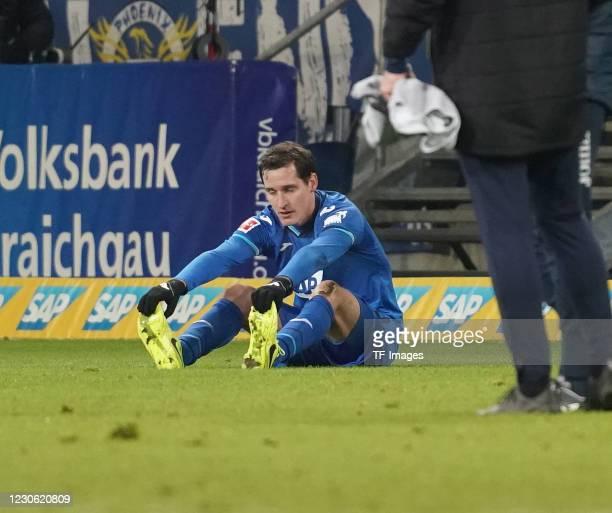 Sebastian Rudy of Hoffenheim after the Bundesliga match between TSG Hoffenheim and DSC Arminia Bielefeld at PreZero-Arena on January 16, 2021 in...