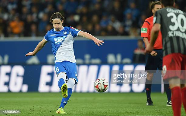 Sebastian Rudy of Hoffenheim scores his team's second goal during the Bundesliga match between TSG 1899 Hoffenheim and SC Freiburg at Wirsol...