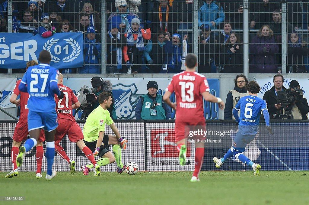 Sebastian Rudy (R) of Hoffenheim scores his team's second goal past goalkeeper Sven Ulreich (C) of Stuttgart during the Bundesliga match between 1899 Hoffenheim and VfB Stuttgart at Wirsol Rhein-Neckar-Arena on February 14, 2015 in Sinsheim, Germany.