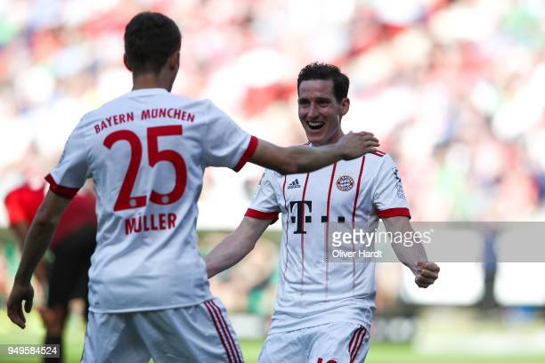 Sebastian Rudy of Munich celebrate after his first goal during the Bundesliga match between Hannover 96 and FC Bayern Muenchen at HDIArena on April...