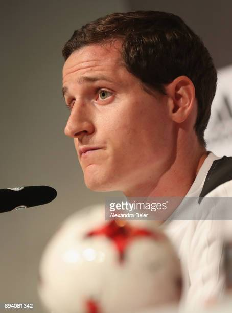 Sebastian Rudy of the German national soccer team attends a press conference on June 9 2017 in Herzogenaurach Germany Germany will face San Marino in...