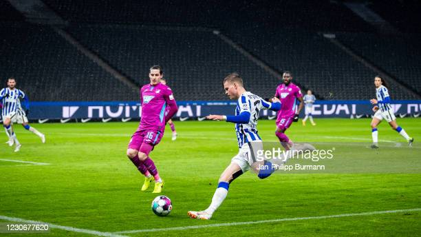 Sebastian Rudy of the TSG 1899 Hoffenheim and Maximilian Mittelstaedt of Hertha BSC during the Bundesliga match between Hertha BSC and TSG Hoffenheim...