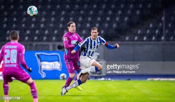 Sebastian Rudy of the TSG 1899 Hoffenheim and Niklas Stark of Hertha BSC during the Bundesliga match between Hertha BSC and TSG Hoffenheim at...