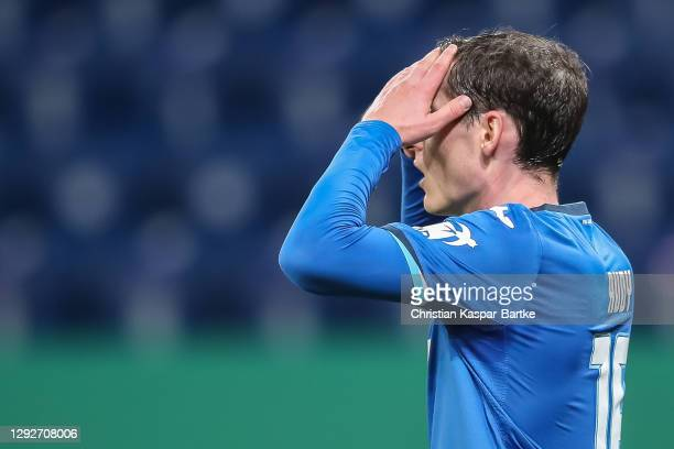 Sebastian Rudy of TSG 1899 Hoffenheim reacts during the DFB Cup second round match between TSG Hoffenheim and SpVgg Greuther Fuerth at PreZero-Arena...