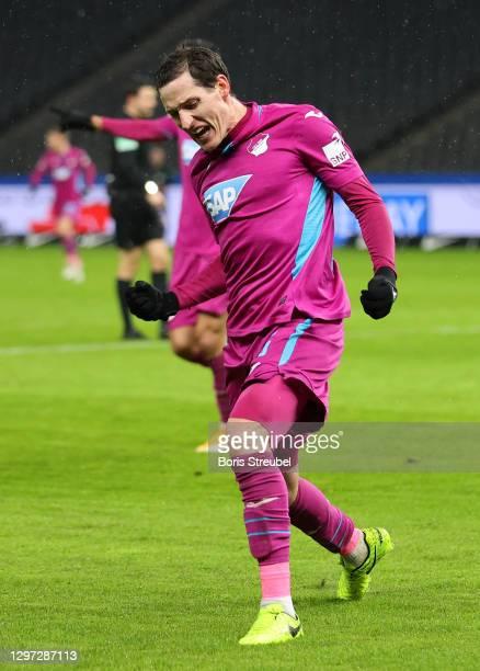 Sebastian Rudy of TSG Hoffenheim celebrates after scoring their sides first goal during the Bundesliga match between Hertha BSC and TSG Hoffenheim at...