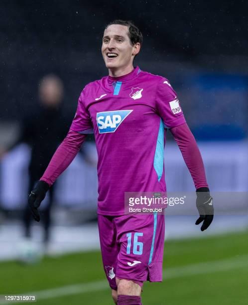 Sebastian Rudy of TSG Hoffenheim reacts during the Bundesliga match between Hertha BSC and TSG Hoffenheim at Olympiastadion on January 19, 2021 in...