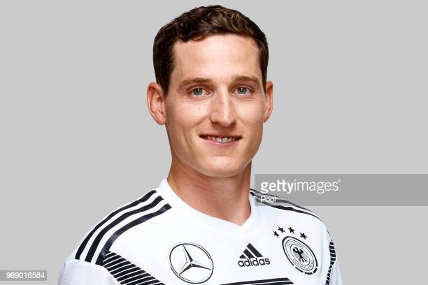 Sebastian Rudy poses for a photo during a portrait session ahead of the 2018 FIFA World Cup Russia at Eppan training ground on June 5 2018 in Eppan...