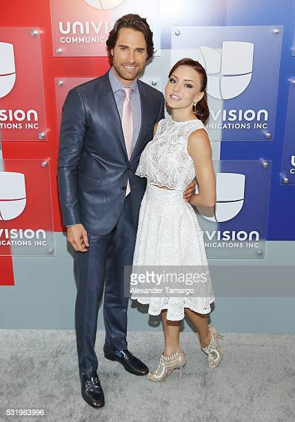 Sebastian Rulli and Angelique Boyer are seen arriving at Univision's UpFront 2016 at Gotham Hall on May 17 2016 in New York New York