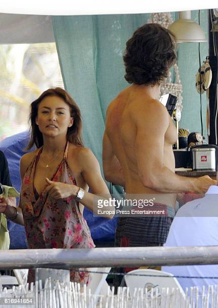 Sebastian Rulli and Angelique Boyer are seen on October 4, 2016 in Marbella, Spain.