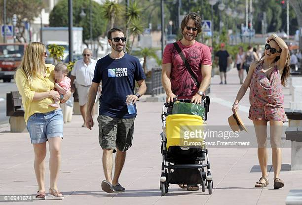 Part of this image has been pixellated to obscure the identity of the child Sebastian Rulli and Angelique Boyer are seen on October 4 2016 in...