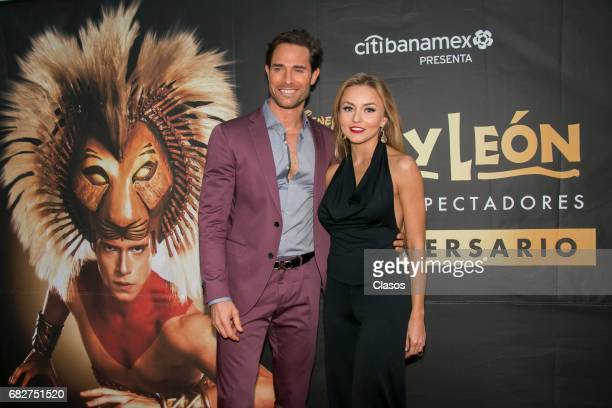 Sebastian Rulli and Angelique Boyer attend the unveiling of the plaque for two years of representations of The Lion King at Teatro Telcel on May 11...