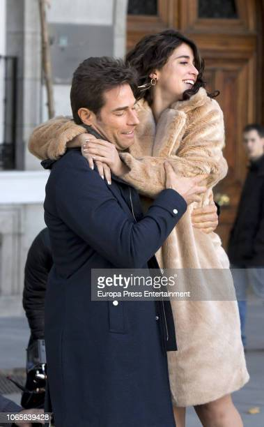 Sebastian Rulli and Cassandra Sanchez are seen during the set filming of 'El Ultimo Dragon' on November 26 2018 in Madrid Spain