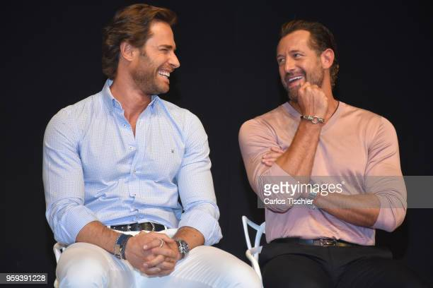 Sebastian Rulli and Gabriel Soto poses for photos during a press conference to promote Una Pareja de Tres at 11 de Julio Theatre on May 15 2018 in...