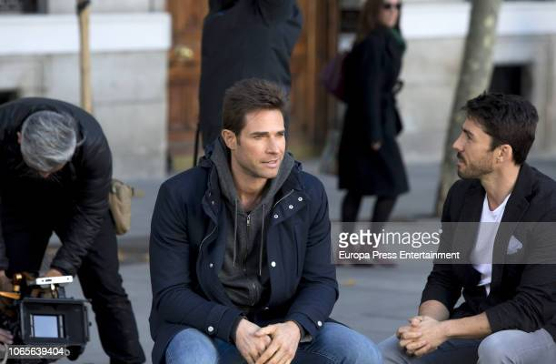 Sebastian Rulli and Ruben Sanz are seen during the set filming of 'El Ultimo Dragon' on November 26 2018 in Madrid Spain