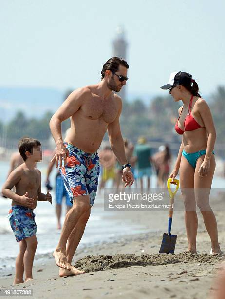 Part of this image has been pixellated to obscure the identity of the child Sebastian Rulli Angelique Boyer and Sebastian Rully's son Santiago Rulli...